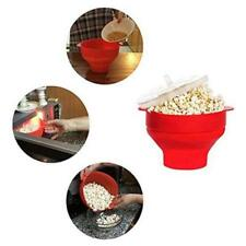 Microwave Silicone Popcorn Popper Maker Collapsible Bowl Kitchen DIY Tool Red