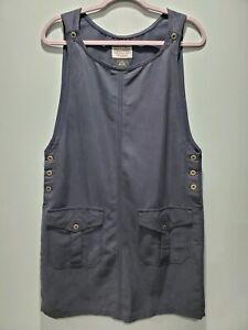 VTG 90s Directives Navy Blue Sleeveless Dress Tencel Lyocell Jumper Small -345