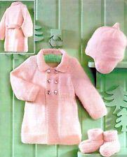 (783) Baby Boys Girls Matinee Coat, Helmet, Bootees Knitting Pattern, 16-22''
