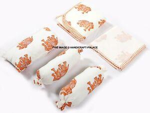 Hand Block Print quilt baby quilt + 2 Bolster + Sheet + Pillow + Bag 6 PC Set