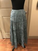 Womens Mix-It Green Tiered Long Peasant Skirt