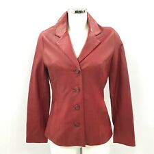 Wilsons Leather Jacket UK XS Women Red Collared Balzer Style Casual Wear 303407