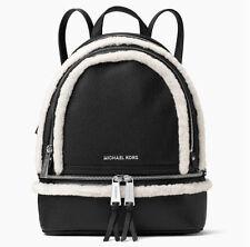BNWT~ Michael Kors Leather & Shearling Medium Rhea Backpack Bag ~Black
