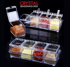 Crystal Seasoning Box Spice Container Jar Dispenser Salt Rack Storage With Spoon