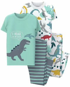 NWT Carter's Boys sz 3T 4T 5T Dinosaur 4-Piece SS Snug Fit PJs Pajamas New