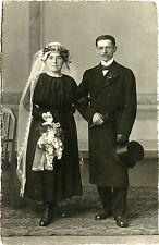 WEDDING PORTRAIT BRIDE GROOM & ORIGINAL REAL PHOTO POSTCARD, WORMS, GERMANY