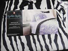 Cynthia Rowley Twin XL Duvet and Sham Set Black & Purple Zebra Stripes Dorm