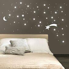 WD Wandtattoo Sternenhimmel Sternschnuppe Mond 127 Stk leuchtend fluoreszierend