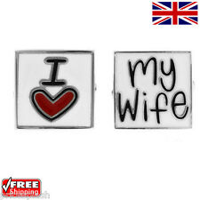 """Cool Silver Men's """"I Love My Wife"""" Novelty Cufflinks Vivid Colours Cuff-links"""