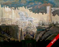 KNIGHT RIDING IN THE CLOUDS OVER CASTLE & TOWN FANTASY PAINTING ART CANVASPRINT