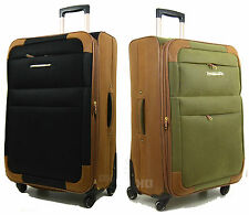 Synthetic Suede Lightweight 4 Wheel Spinner Trolley Cases Suitcases Luggage bag