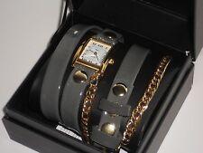 La Mer Collection Gery Patent Gold Tone Chains Women's Triple Wrap Watch*