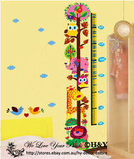 Jungle Safari Animals Height Chart Measurement Wall Stickers Kids Baby Decal DIY
