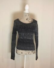 H&M DIVIDED - Women's Grey Knit Jumper - Size 8 - Boat Neckline - Elbow Patches