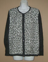 Womens Size XL Long Sleeve Gray Animal Print Fall Winter Casual Cardigan Sweater