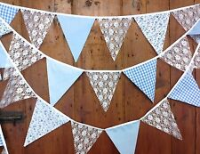 Wedding bunting, White lace, Pale Blue, Floral Gingham Dots 10 mt long 58