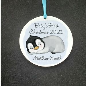 Baby Sleeping Penguin Personalised Baby's First Christmas 2021 Acrylic Bauble