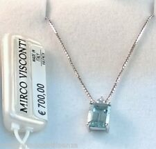 Collier oro bianco 18kt 750/°°° MIRCO VISCONTI con Acquamarina e Diamanti