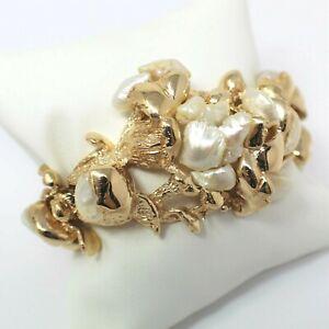 "Ruser 14 kt Yellow Gold Mississippi River Houndstooth Pearl Bracelet 6.5"" B0195"
