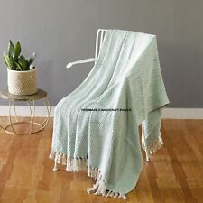 Cotton Tassel Throw Hand Woven Soft Warm Throw Blanket Reversible 50 x 60 inches