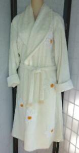 Vntg CANYON GROUP Damze Lt. Yellow w Daisies Flowers Cotton Chenille Robe Med