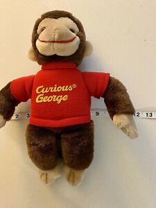 "Curious George Gund Plush Vintage Stuffed Animal Red Shirt 1992 Monkey 13"""