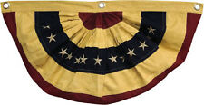 "American Flag Swag Bunting Embroidered Stars Tea Stained Cotton 16"" x 30"" Small"