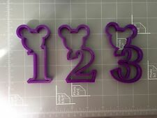 Mickey Mouse Number One, Two, Three, 1st, 2nd, 3rd Year Birthday Cookie Cutter