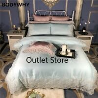 Luxury Princess Lace Silk Bedding Set Queen Size Bed Sheet Bed Duvet Cover Set
