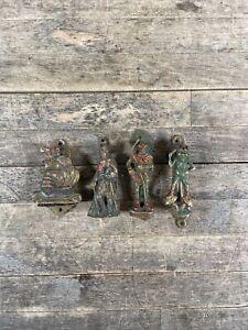 Four Antique Brass Door Knockers To Include Robin Hood & Scottish Highlander.