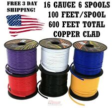 16 GA GAUGE 100 FT SPOOLS REMOTE POWER GROUND WIRE CABLE PRIMARY AUTO 6PackPU