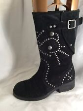 ASH Ladies Black Suede /Leather Biker Mid Calf Boots Size 5
