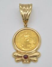 #JC120 1/10 OZ FINE GOLD LIBERTY LADY 1995 COIN 14K BEZEL PENDANT