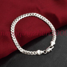Solid 925 Silver Men's Women's Italian 5mm Cuban Curb Link Chain Bangle Bracelet