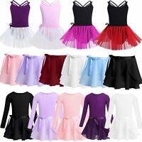 Girls Ballet Dance Dress Kids Gymnastics Skating Leotard Tutu Wrap Skirt Costume