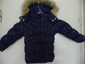 Boys Blue & Orange Polka Dot Long Sleeve, Zip Up Hooded, Padded Coat Size 2-3YRS