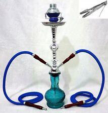 """Hookah 22"""" Blue 2 hose shisha nargila bar narguile nargile glass water Vase Sale"""