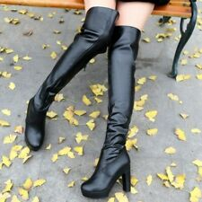 Womens Over the Knee Boots Pleated Platform Block Heels Lace Ups Gothic Comfort