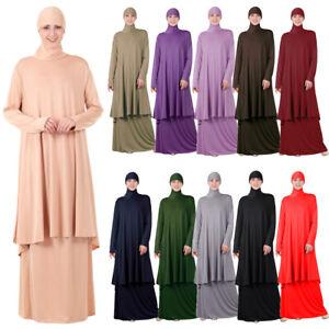 2Pcs Muslim Women Prayer Hijab Dress Overhead Khimar Jilbab Abaya Islamic Burqa