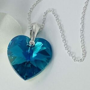 925 Silver 18mm Heart Necklace Blue Z Pendant Made With Swarovski® Crystals
