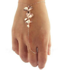 New Fashion Charm Golden Leaf Multi Flower Link Ring Cuff Bracelet Hand Harness