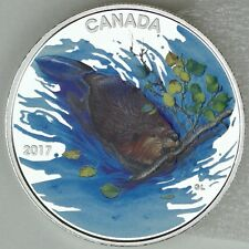 2017 $10 Iconic Canada: The Beaver, 1/2 oz. 99.99% Pure Silver Color Matte Proof