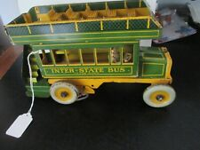 "Vintage Ferdinand Strauss ""Interstate Bus"" #98 Tin Windup Lithographed Toy"