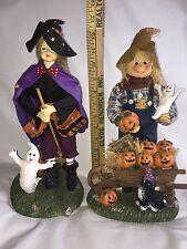 "Halloween Witch & Scarecrow Fabric Mache Figurines 13"" Original Box"