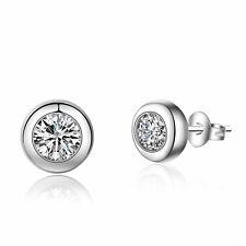 Ladies Hot Fashion 925 Sterling Silver Round Zircon Ear Stud Earrings