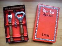 Bar-Set Rustikal 3-Teilig - Korkenzieher Flaschenöffner Dosenöffner Vintage NEU