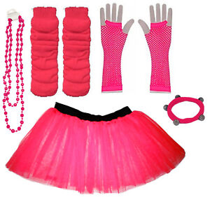 CHILD TUTU SKIRT KIDS FANCY DRESS UV PARTY COSTUMES SET LEG WARMER GLOVES BEADS