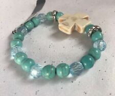 Beads Stretch Bracelet - New Gnw Cross And Faux Turquoise