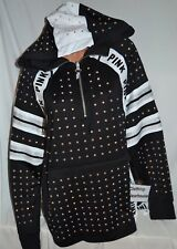 Victoria's Secret PINK Rhinestone Tunic Bling Half Zip Hoodie Track Jacket M/L