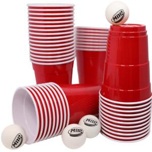 100 Original 16 oz. ( 453 ml) Red Cups + 6 Ping Pong Bälle von MyBeerpong®
